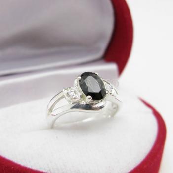 แหวนนิล พลอยสีดำ แหวนเงินฝังนิล #4