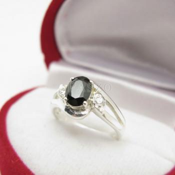 แหวนนิล พลอยสีดำ แหวนเงินฝังนิล #5