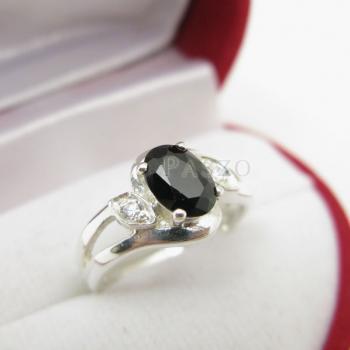 แหวนนิล พลอยสีดำ แหวนเงินฝังนิล #6