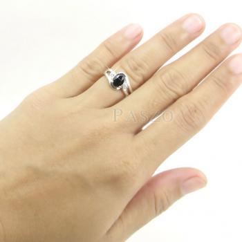 แหวนนิล พลอยสีดำ แหวนเงินฝังนิล #7