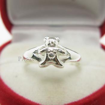 แหวนหมีเท็ดดี้แบร์ แหวนตุ๊กตาหมี แหวนเงินแท้ #2