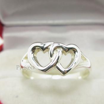 แหวนเงินแท้ 925 รูปหัวใจคู่ #2