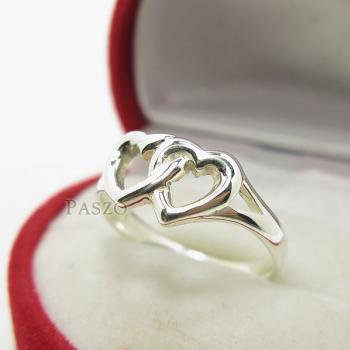 แหวนเงินแท้ 925 รูปหัวใจคู่ #3