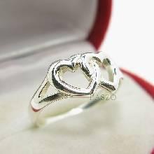 แหวนเงินแท้ 925 รูปหัวใจคู่