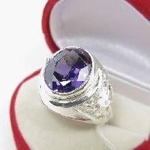 แหวนพลอยผู้ชาย แหวนเงินแท้ แหวนมังกร ฝังพลอยสีม่วง อะมิทิสต์