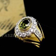 แหวนพลอยผู้ชาย แหวนทองแท้ พลอยเขียวส่อง ล้อมเพชร แหวนทองผู้ชาย