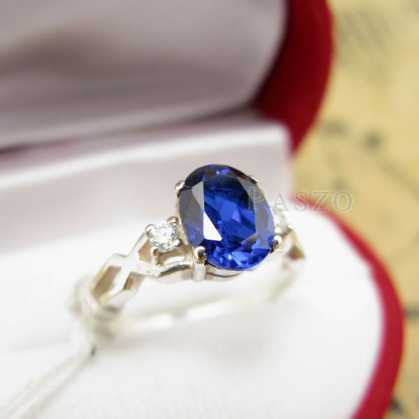 แหวนพลอยไพลิน แหวนเงินแท้ 925 #3