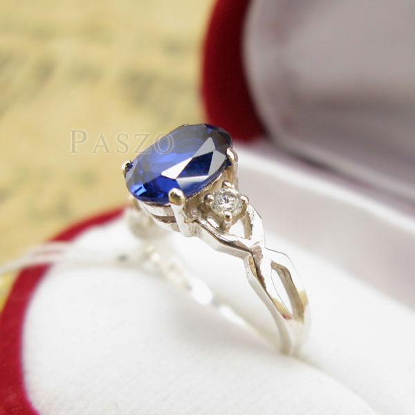 แหวนพลอยไพลิน แหวนเงินแท้ 925 #4