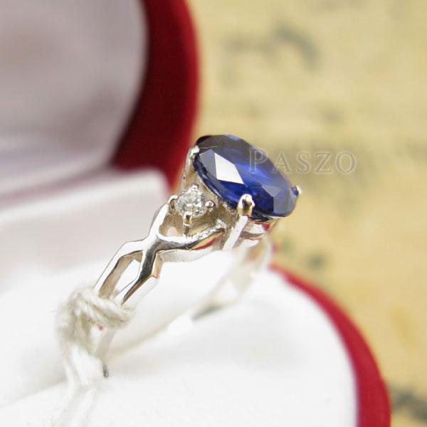 แหวนพลอยไพลิน แหวนเงินแท้ 925 #5