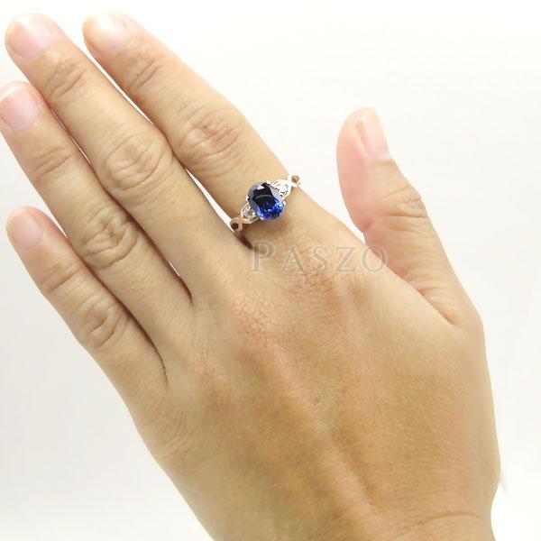 แหวนพลอยไพลิน แหวนเงินแท้ 925 #7