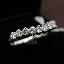 แหวนเงินแท้ ฝังเพชร แหวนเพชรแถว 10 เม็ด