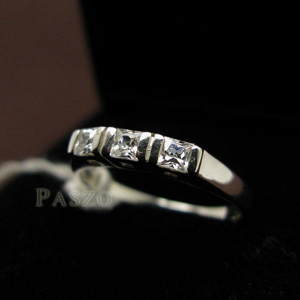 แหวนเงินแท้ แหวนเพชร เม็ดสี่เหลี่ยม #3