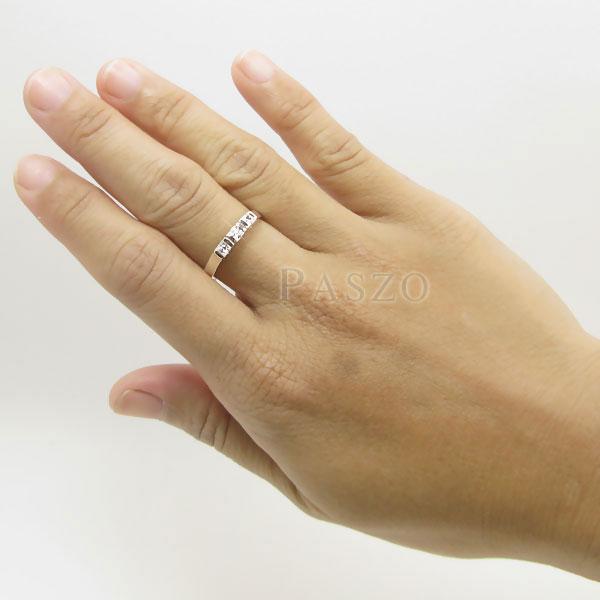 แหวนเงินแท้ แหวนเพชร เม็ดสี่เหลี่ยม #5