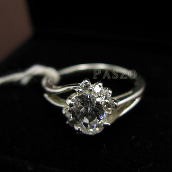 แหวนเพชร แหวนเงินแท้ แหวนเงินฝังเพชร #6