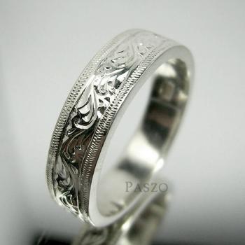 แหวนแกะลายไทย หน้ากว้าง6มิล แหวนเงินแท้ #2