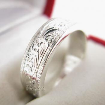 แหวนแกะลายไทย หน้ากว้าง6มิล แหวนเงินแท้ #4