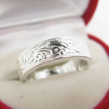 แหวนแกะลายไทย หน้ากว้าง6มิล แหวนเงินแท้ #5