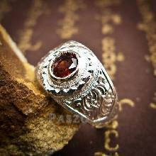 แหวนพลอยโกเมน แหวนเงินแกะลาย ฝังพลอยโกเมน แหวนเงินแท้ 925
