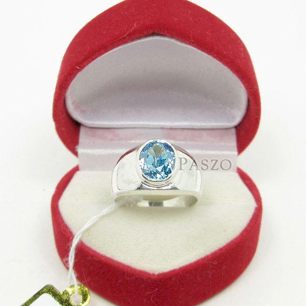 แหวนผู้ชาย พลอยสีฟ้า บลูโทพาซ #2