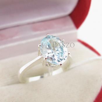 แหวนพลอยอะความารีน พลอยสีน้ำทะเล หนามเตย #3