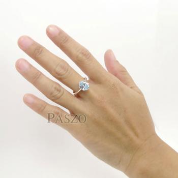แหวนพลอยอะความารีน พลอยสีน้ำทะเล หนามเตย #6