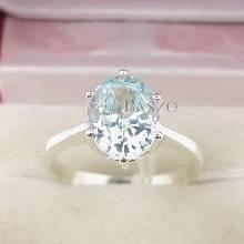 แหวนพลอยอะความารีน พลอยสีน้ำทะเล หนามเตย 6 จุด แหวนเงินแท้ 925
