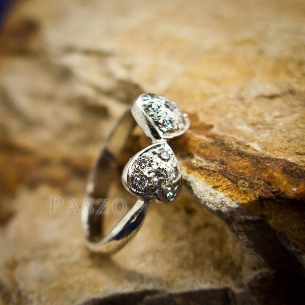 แหวนหัวใจ แหวนเงินแท้ ฝังเพชร #2
