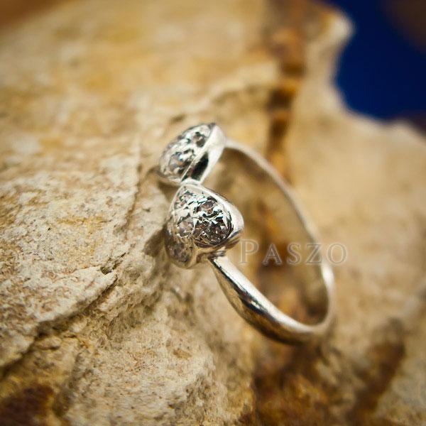 แหวนหัวใจ แหวนเงินแท้ ฝังเพชร #3