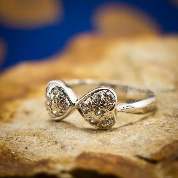 แหวนหัวใจ แหวนเงินแท้ ฝังเพชร #4
