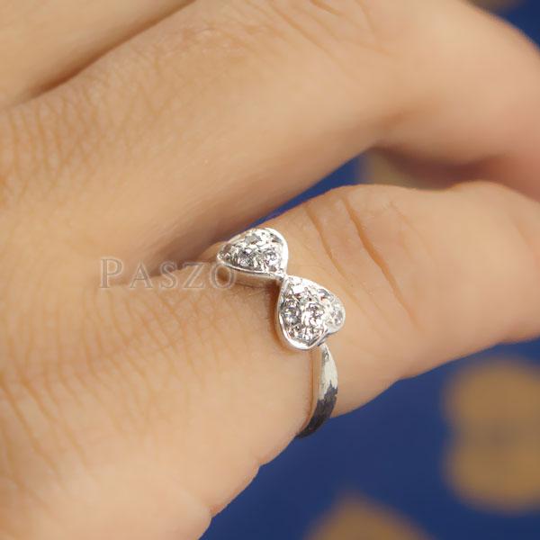แหวนหัวใจ แหวนเงินแท้ ฝังเพชร #6
