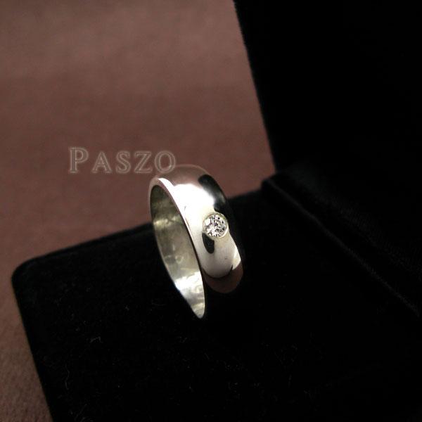 แหวนเพชร แหวนเงินฝังเพชร แหวนหน้าโค้งมน #2