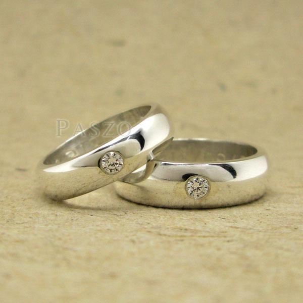 แหวนคู่รัก แหวนเกลี้ยงเงินแท้ หน้าโค้งมนขอบตรง #3
