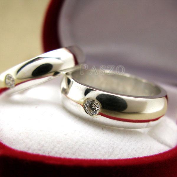 แหวนคู่รัก แหวนเกลี้ยงเงินแท้ หน้าโค้งมนขอบตรง #9