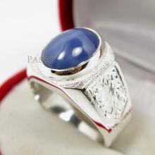 แหวนนิหร่าผู้ชาย แหวนผู้ชาย แหวนพลอยนิหร่า พลอยหลังเบี้ย แหวนเงินแท้ แกะสลักลายไทย