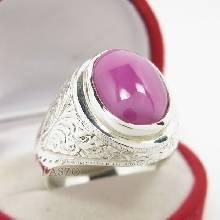 แหวนพลอยลิลลี่สตาร์ สีแดง แหวนผู้ชายเงินแท้  ตัวเรือนแหวนเงินแท้ แกะลายไทย