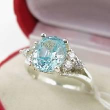 แหวนพลอยสีฟ้า เพชรข้างละ3เม็ด แหวนพลอยอความารีน แหวนเงินแท้ แหวนผู้หญิง