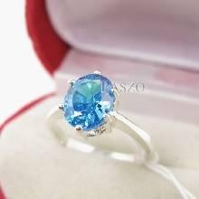 แหวนพลอยบูลโทพาซ พลอยสีฟ้า เม็ดเดี่ยว ตัวเรือนแหวนเงินแท้