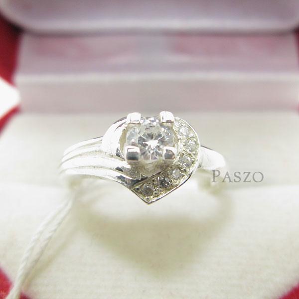 แหวนเพชร แหวนหัวใจ แหวนเงินฝังเพชร #2