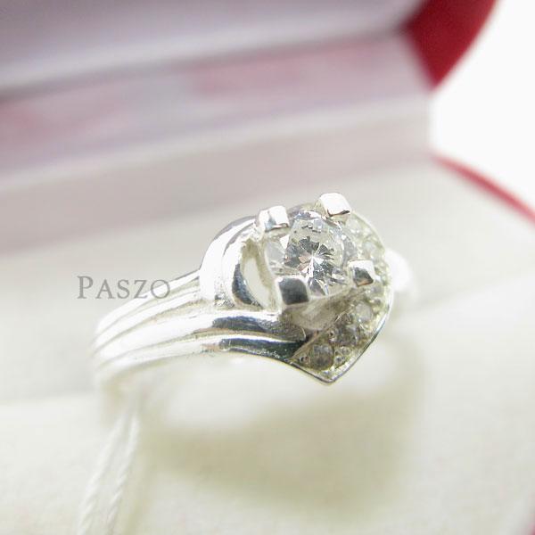 แหวนเพชร แหวนหัวใจ แหวนเงินฝังเพชร #3