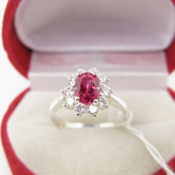 แหวนทับทิม พลอยสีแดง ล้อมเพชร #4
