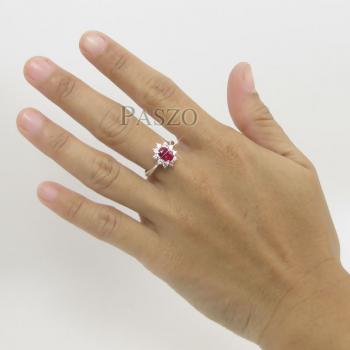 แหวนทับทิม พลอยสีแดง ล้อมเพชร #6