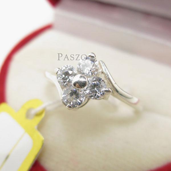 แหวนเพชร แหวนเงินฝังเพชร แหวนดอกไม้ #2