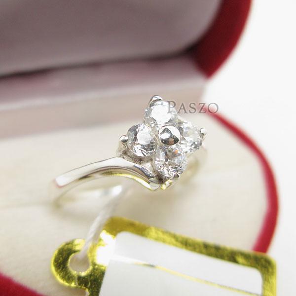 แหวนเพชร แหวนเงินฝังเพชร แหวนดอกไม้ #3