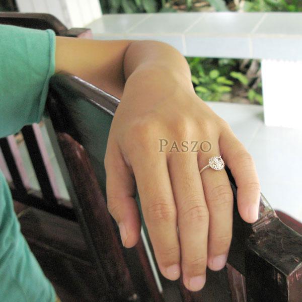 แหวนเพชร แหวนเงินฝังเพชร แหวนดอกไม้ #4