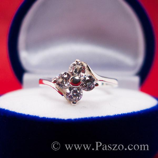 แหวนเพชร แหวนเงินฝังเพชร แหวนดอกไม้ #5