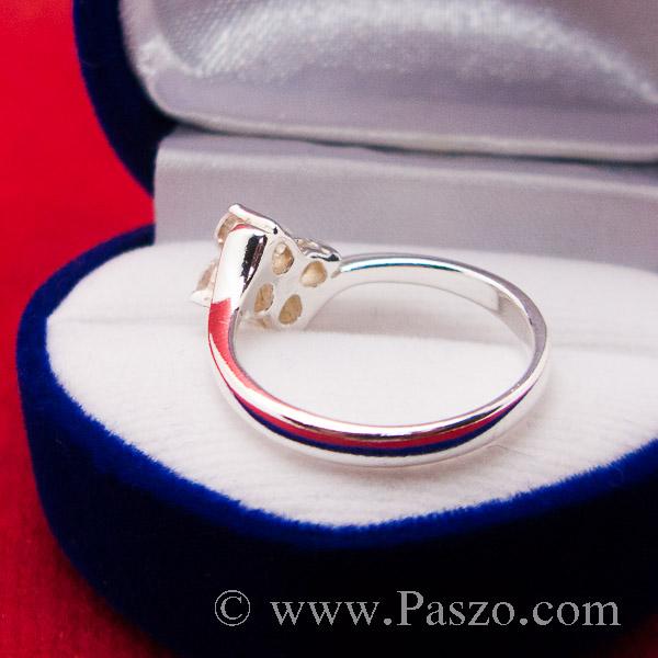 แหวนเพชร แหวนเงินฝังเพชร แหวนดอกไม้ #6