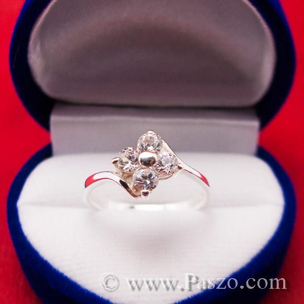 แหวนเพชร แหวนเงินฝังเพชร แหวนดอกไม้ #7