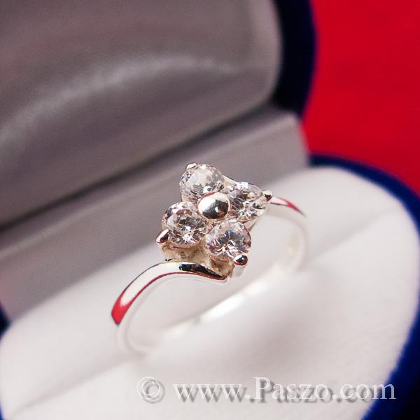 แหวนเพชร แหวนเงินฝังเพชร แหวนดอกไม้ #8
