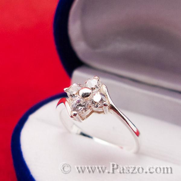 แหวนเพชร แหวนเงินฝังเพชร แหวนดอกไม้ #9