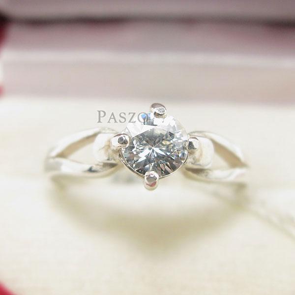แหวนเพชร แหวนเพชรเม็ดเดี่ยว แหวนเงินฝังเพชร #2